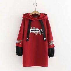 TOJI - Panel Sleeve Panda Embroidered Hooded Sweatshirt