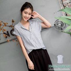 OrangeBear - Striped Short-Sleeve Half Placket Shirt