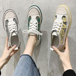 Yuki Yoru - Paneled Lettering Sneakers