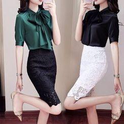 Ice Cloud - Short/ Long-Sleeve Blouse/ Lace Pencil Skirt/ Wide-Leg Pants / Set
