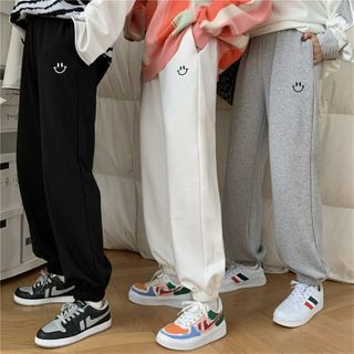 Astarte - Smiley Face Embroidered Jogger Pants