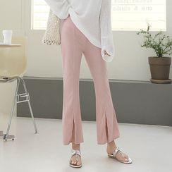 Seoul Fashion - Slit-Hem Boot-Cut Pants