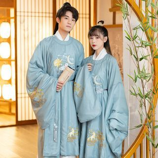 Tangier - Couple Matching Wolf Embroidery Hanfu Gown / Hanfu Long Shirt / Sash / Belt