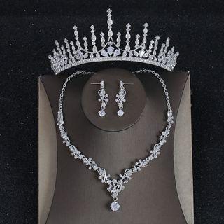 la Himi - 套装: 婚礼皇冠 + 耳坠 + 项链