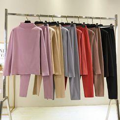 KiwiKane - Pajama Set: Plain Long-Sleeve T-Shirt + Pants