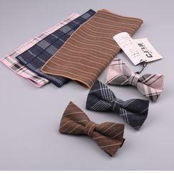 Little Town - 套装: 条纹手帕 + 蝴蝶结领带