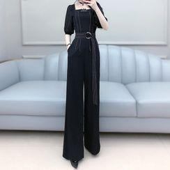 Sefen - 配色飾縫線蕾絲邊短袖寬腿連衣褲