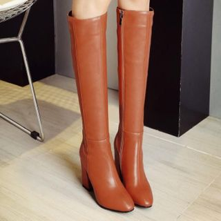 Aegina - Faux Leather Chunky-Heel Zip Tall Boots
