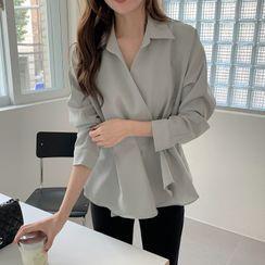 Ashlee - Long-Sleeve Open-Collar Peplum Blouse