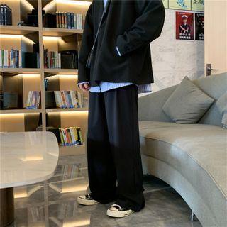Chuoku - High-Waist Plain Loose Fit Pants