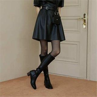 MONOBARBI - Wooden-Heel Pleather Long Boots