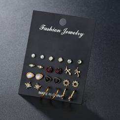 Terreau Kathy - Set of 12 Pairs: Geometric Stud Earrings (Various Designs)