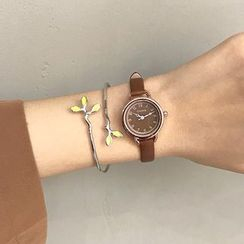 MEDIR - Set: Retro Faux Leather Strap Watch + Branches Open Bangle