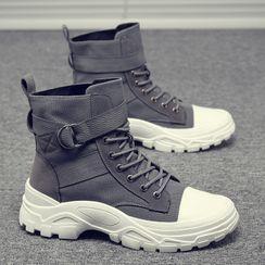 Bendion - 系带厚底饰扣短筒靴