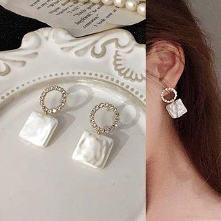 Calypso - Rhinestone Hoop Square Earrings