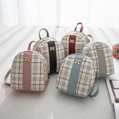 Hanaburg - Plaid Panel Faux Leather Backpack