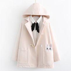 Mushijan - 小兔刺繡連帽外套