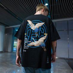 UIXX - 中國風仙鶴刺繡短袖T恤