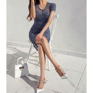GUMZZI - Shirred Tulle Lace Bodycon Dress