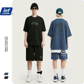 Newin - Unisex Iridescent-Print Loose T-Shirt / Shorts