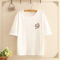 Kawaii Fairyland - 喇叭袖花环字母刺绣上衣