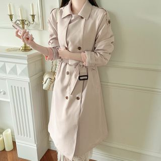 MyFiona - Epaulet Belted Long Trench Coat