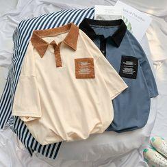 Odin King - Elbow-Sleeve Corduroy Polo Shirt