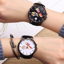 Biccup - 快餐印花仿皮帶式手錶