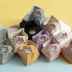 Shippo - 三双套装: 猫刺绣袜子