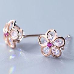 A'ROCH - 925 Sterling Silver Rhinestone Flower Stud Earring