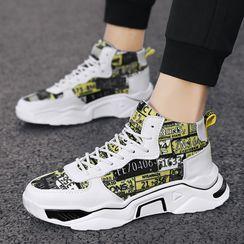 BELLOCK - Print Panel Platform High-Top Sneakers