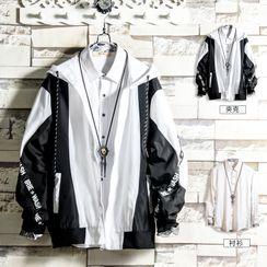 Soinku - Set: Long-Sleeve Shirt + Hooded Zip Cargo Jacket