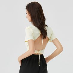 YS by YesStyle - Eco-Friendly Short-Sleeve Lace Trim Open Back Crop Knit Top