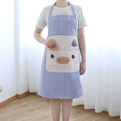 Yulu - 条纹小猪印花围裙