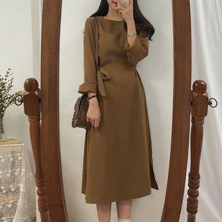Leoom - 長袖腰結帶直身連衣中裙