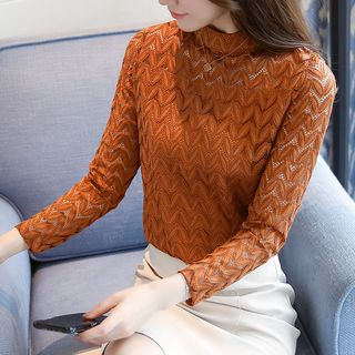 Sienne - Long-Sleeve Lace Panel Knit Top
