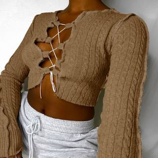 Puffields - Lace-Up Cable Knit Cropped Sweater