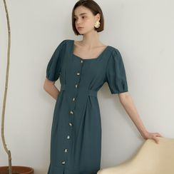 NAIN(ナイン) - Square-Neck Pintuck Ruffled Long Dress