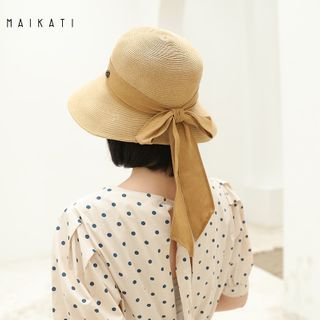 Jiggon - Bow-accent Foldable Straw Bucket Hat