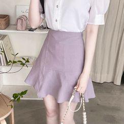 MyFiona - Wrap-Front Ruffled Miniskirt
