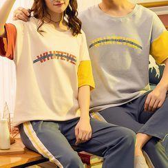 Jeony - Couple Matching Print Short  Sleeve Pajama Set