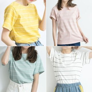 BAIMOMO - Striped Crewneck T-Shirt