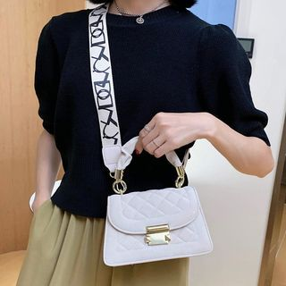 NewTown(ニュータウン) - Quilted Faux Leather Crossbody Bag