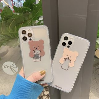 SIFFU - Bear Print Transparent Phone Case - iPhone 12 Pro Max / 12 Pro / 12 / 12 mini / 11 Pro Max / 11 Pro / 11 / SE / XS Max / XS / XR / X / SE 2 / 8 / 8 Plus / 7 / 7 Plus