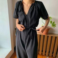 FROMBEGINNING - Hidden-Button Cotton Jumpsuit with Sash