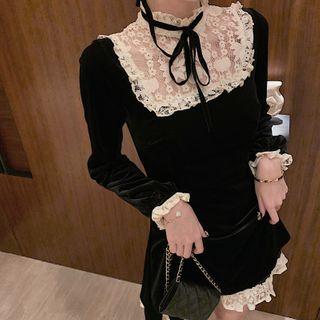 Rorah - Long-Sleeve Lace-Panel Mini A-Line Dress