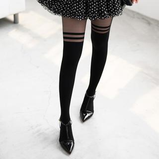 59 Seconds - Striped Two-Tone Tights