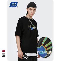 Newin - 创意手掌印花宽松短袖T恤