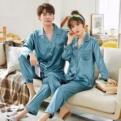 Voomer - Couple Matching Long-Sleeve Satin Pajama Set