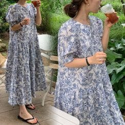 Hearty Bliss - Maternity Puff-Sleeve Floral Print Midi A-Line Dress